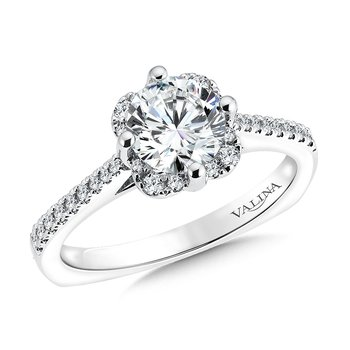 Floral shape halo .18 ct. tw., 1 ct. round center