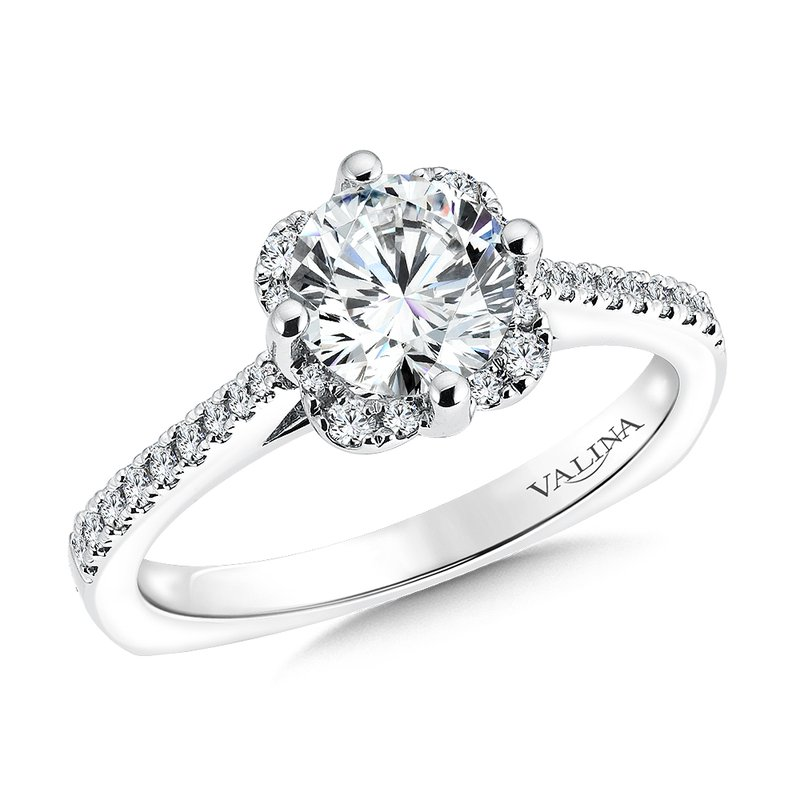 Valina Floral shape halo .18 ct. tw., 1 ct. round center