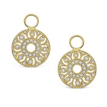 Diamond Small Filigree Earring Charms in 14k Yellow Gold with 56 Diamonds weighing .25ct tw.