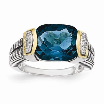 Sterling Silver w/14k London Blue Topaz & Diamond Ring