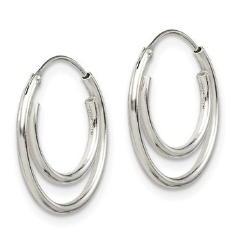 Sterling Silver Double Endless Hoop Earrings