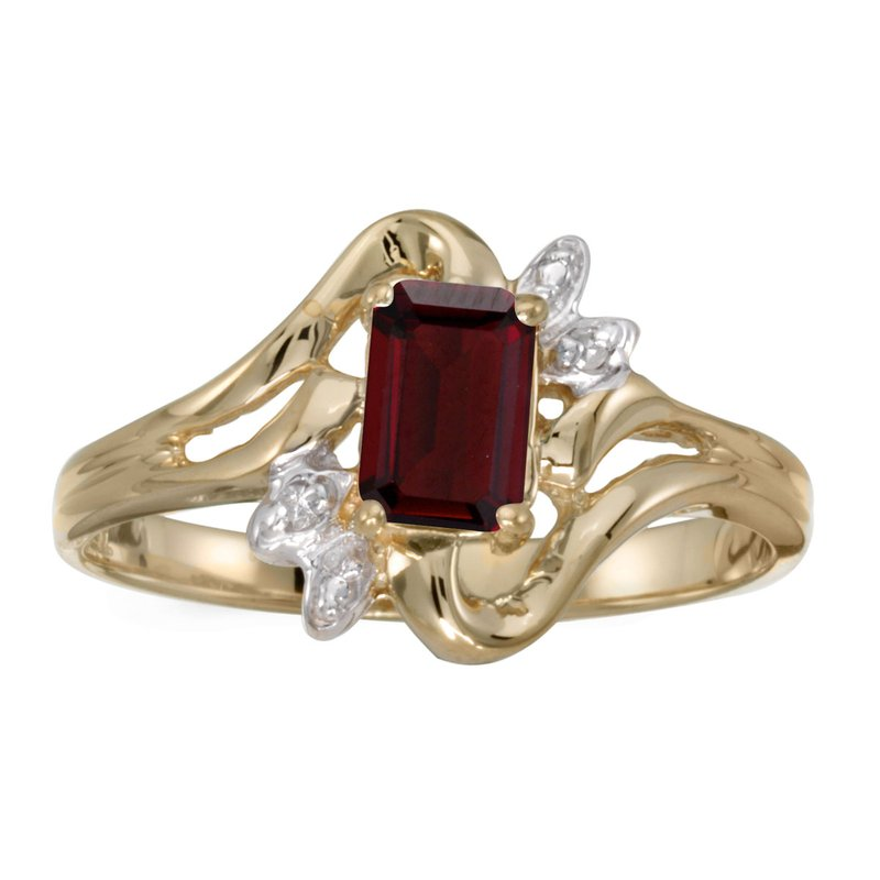 Color Merchants 14k Yellow Gold Emerald-cut Garnet And Diamond Ring