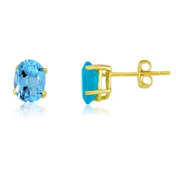 14k Yellow Gold Oval Blue Topaz Stud Earrings