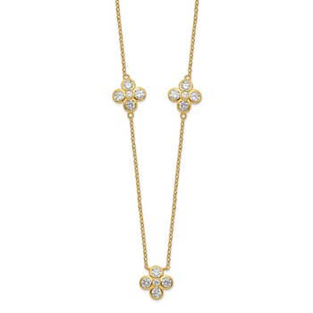Sterling Silver Gold-plated Polished CZ Necklace