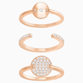 Ginger Ring Set, White, Rose-gold tone plated