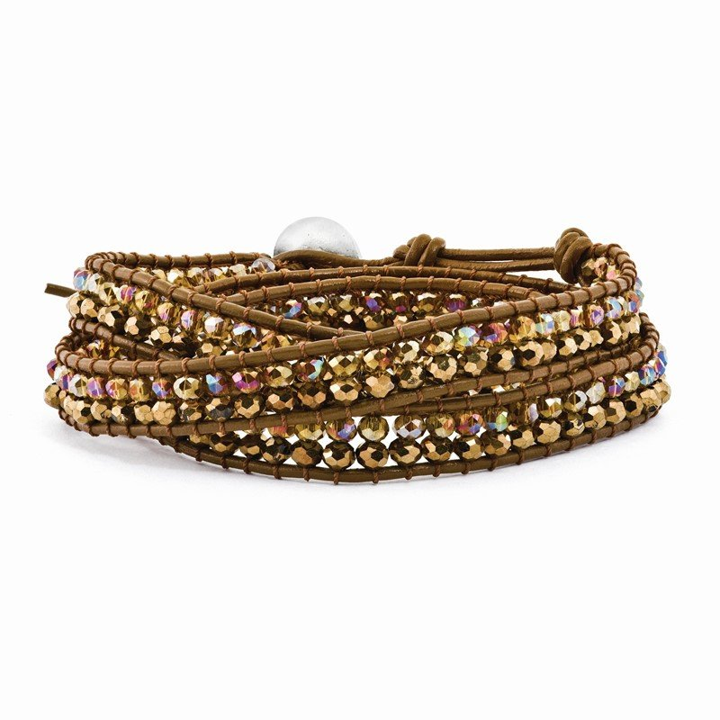 Quality Gold Multi Brown Crystal Bead and Leather Multi-wrap Bracelet