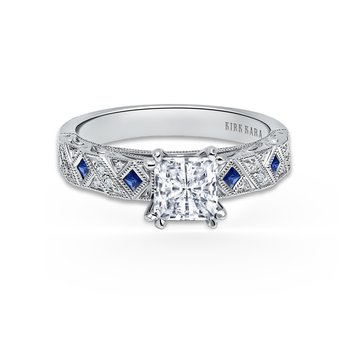 Kirk Kara 18K White Gold Blue Sapphire and Diamond Engagement Ring