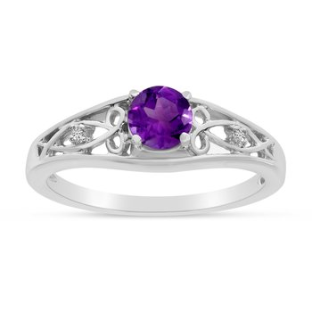 10k White Gold Round Amethyst And Diamond Ring