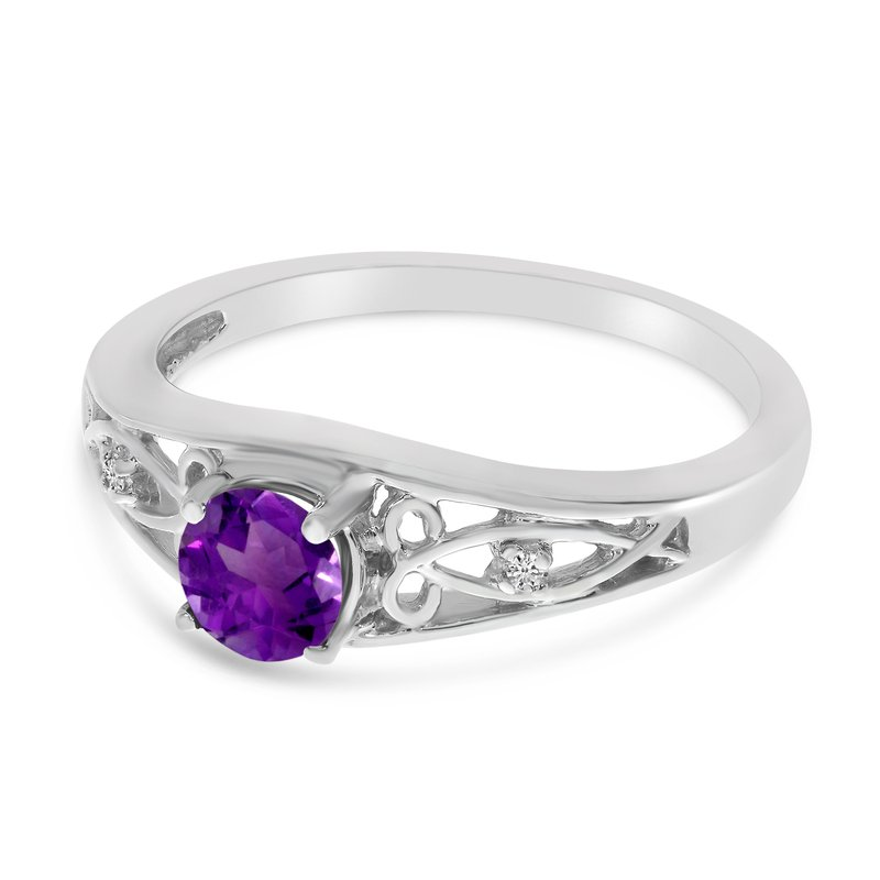 Color Merchants 10k White Gold Round Amethyst And Diamond Ring