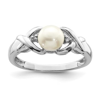 Sterling Silver Rhodium FW Cultured Button Pearl & Diamond Ring
