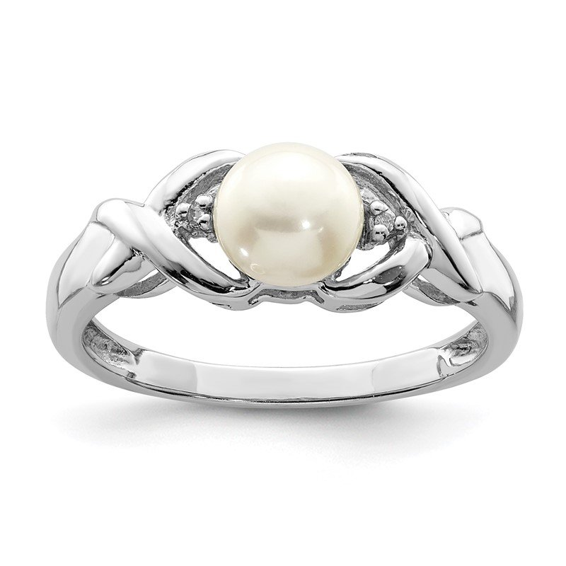 Quality Gold Sterling Silver Rhodium FW Cultured Button Pearl & Diamond Ring