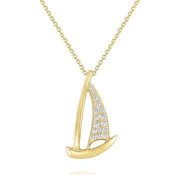 Diamond Sailboat Pendant Set in 14 Kt. Gold