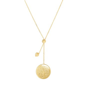 14K Gold Tree of Life Lariat Necklace