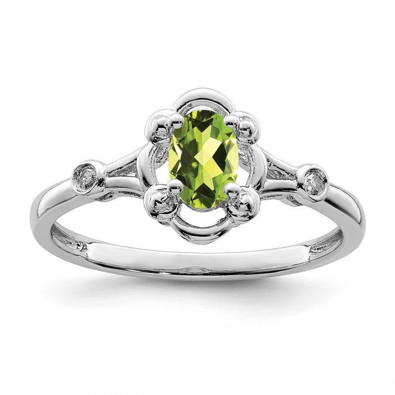 Quality Gold Sterling Silver Rhodium-plated Peridot & Diam. Ring