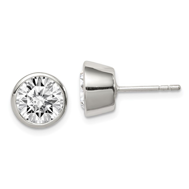 Quality Gold Sterling Silver 8mm CZ Round Bezel Stud Earrings