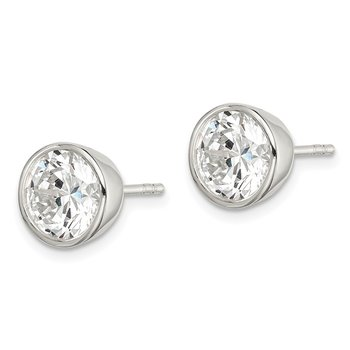 Sterling Silver 8mm CZ Round Bezel Stud Earrings