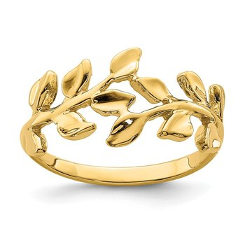 14K Polished Leaf Ring