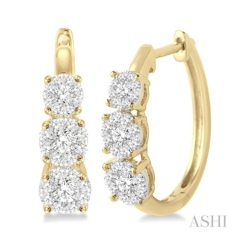 ASHI past present & future lovebright diamond hoop earrings