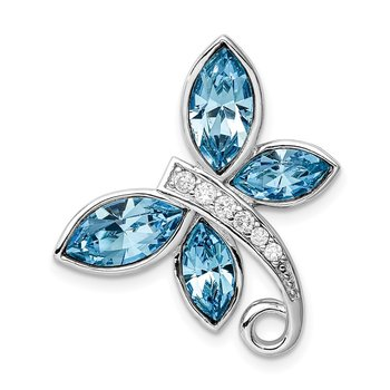 Sterling Silver RH-plated Clear/Blue Crystal Butterfly Chain Slide
