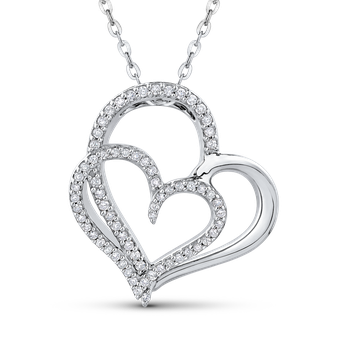 10K White Gold 1/4 Ct Diamond Heart Pendant with Chain