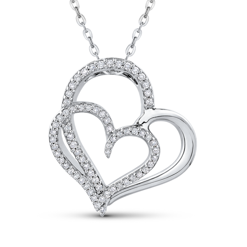 Essentials 10K White Gold 1/4 Ct Diamond Heart Pendant with Chain