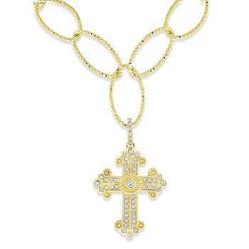 Diamond Cross Necklace in 14k Yellow Gold with 51 Diamonds weighing .54ct tw.
