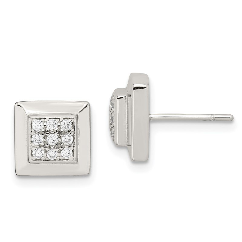 Quality Gold Sterling Silver CZ Square Post Earrings