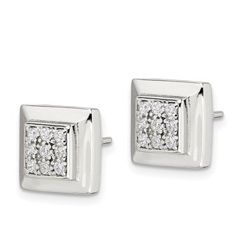 Sterling Silver CZ Square Post Earrings