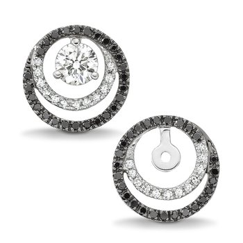 Pave set Black & White Diamond Earring Jackets in 14k White Gold (1/4ct. tw.)