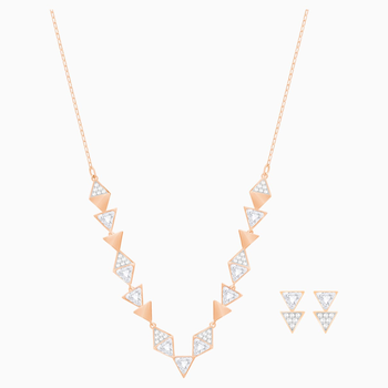 Heroism Set, Medium, White, Rose-gold tone plated