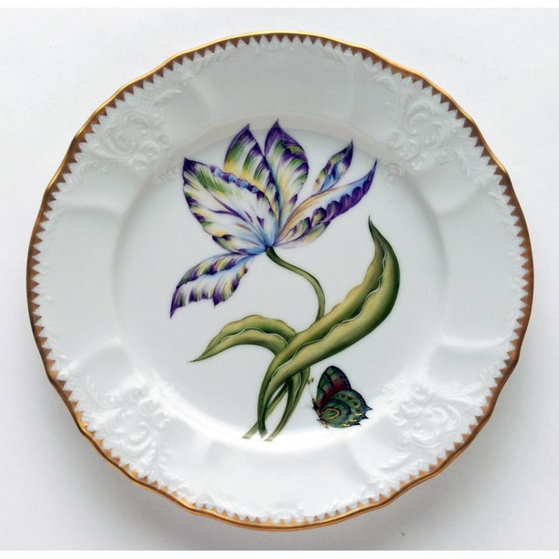 Anna Weatherley Yellow, Green, Purple & Blue Tulip Salad Plate
