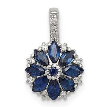 Sterling Silver Rhodium Plated Diamond & Sapphire Flower Pendant