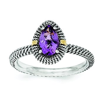 Sterling Silver w/14ky Amethyst Pear Shaped Ring