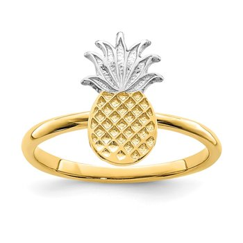 14K and White Rhodium Polished Pineapple Ring