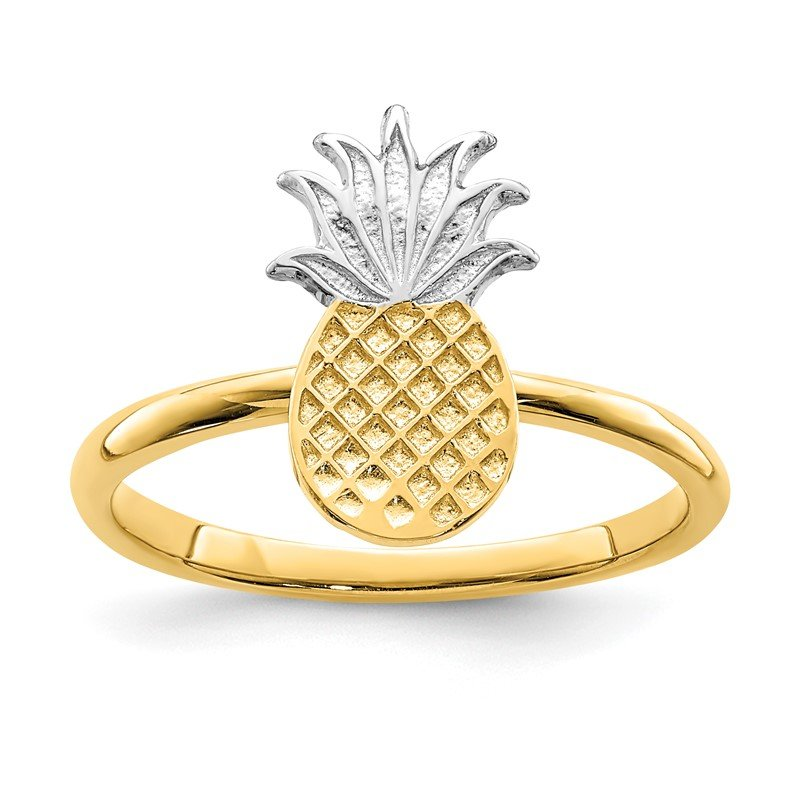Quality Gold 14K and White Rhodium Polished Pineapple Ring