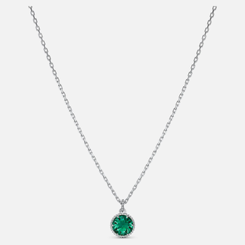 Birthstone Pendant, Green, Rhodium plated