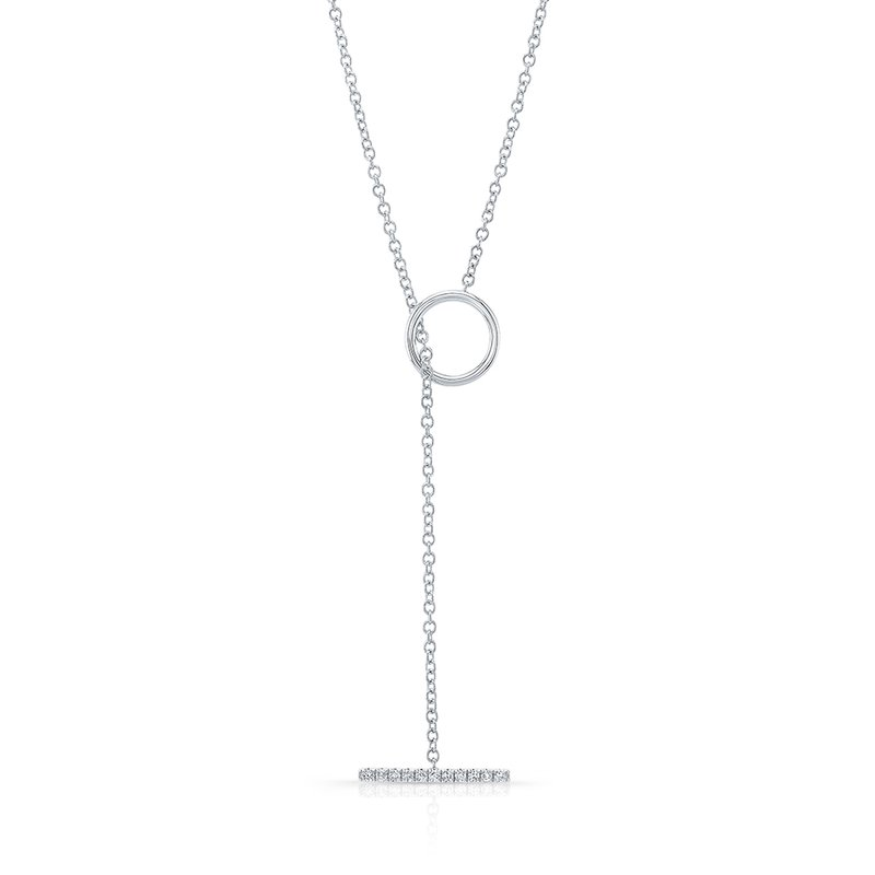 White Gold Diamond T Bar Toggle Necklace