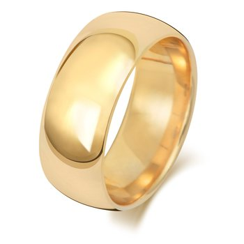 18Ct Yellow Gold 8mm Traditional Court Wedding Ring
