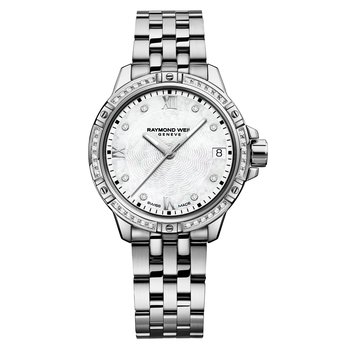 Ladies Quartz Date Watch, 30mm Steel on steel, 44 diamonds