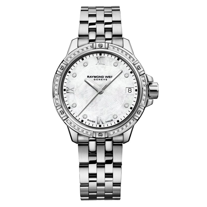Raymond Weil Ladies Quartz Date Watch, 30mm Steel on steel, 44 diamonds