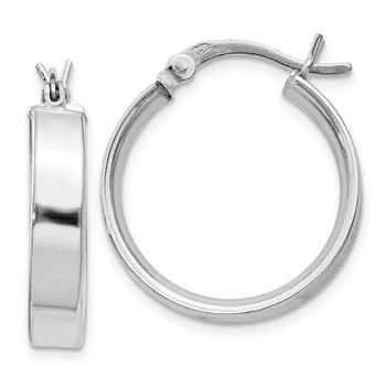 Sterling Silver Rhodium Plated 4.25x20 Hoop Earrings