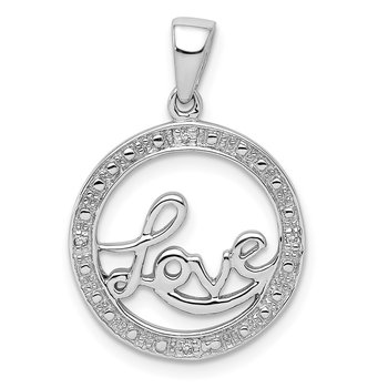 Sterling Silver Rhodium Plated Diamond Love Circle Pendant