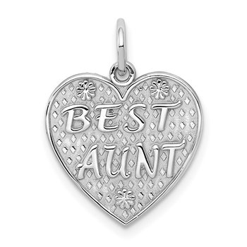 14k White Gold Best Aunt Charm