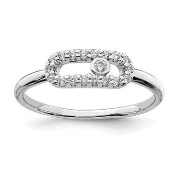 Sterling Silver Rhodium Plated CZ Ring