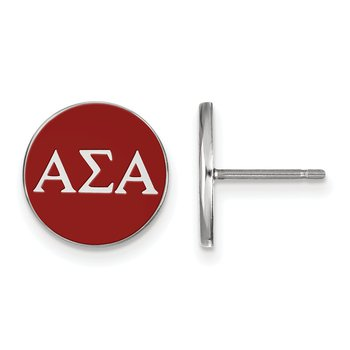 Sterling Silver Alpha Sigma Alpha Greek Life Earrings