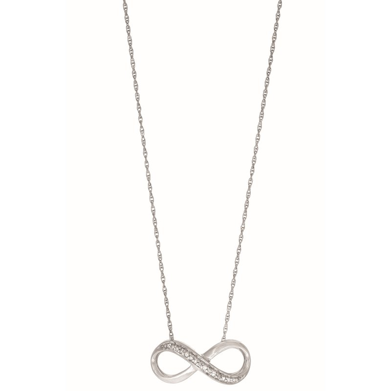 Royal Chain Silver Diamond .03ct Infinity Necklace