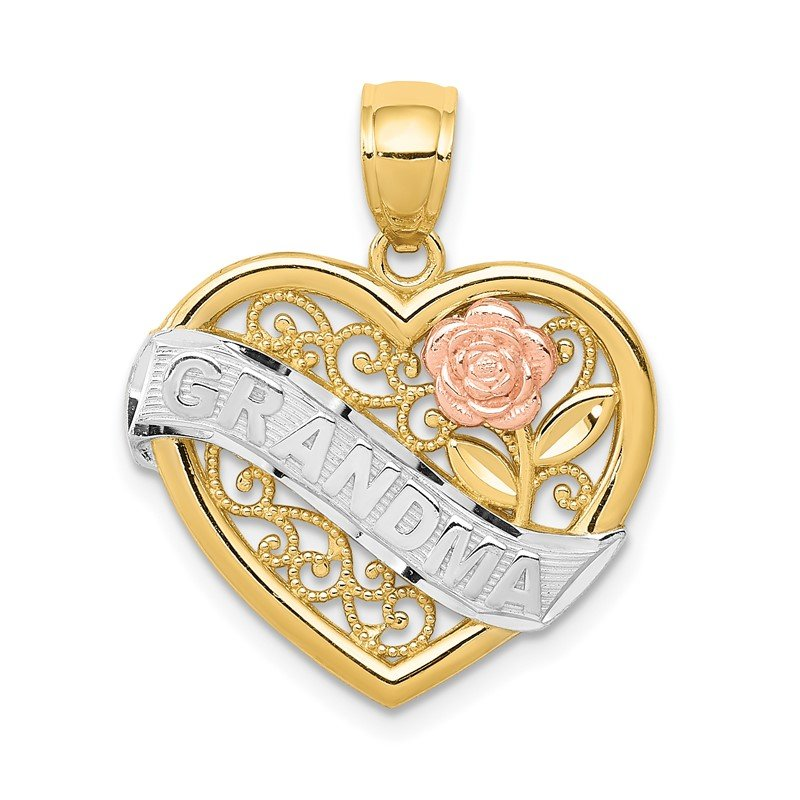 Quality Gold 14k Two-tone w/White Rhodium GRANDMA Heart Pendant