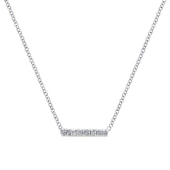 14K White Gold Petite Pavé Diamond Bar Necklace