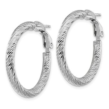14k 3x20mm White Gold Diamond-cut Round Omega Back Hoop Earrings