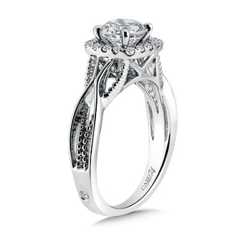 Modernistic Collection Halo Engagement Ring in 14K White Gold with Platinum Head (1ct. tw.)